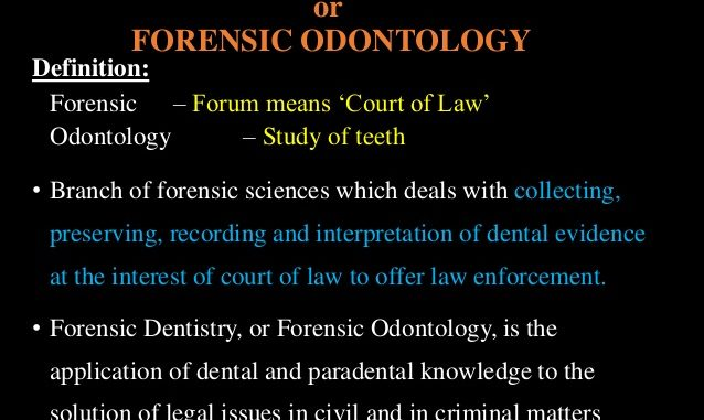 Of Odontologist Definition